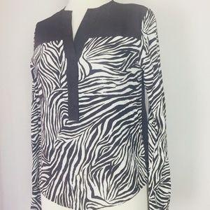 Michael Kors Womens Size XS Blouse Animal Print